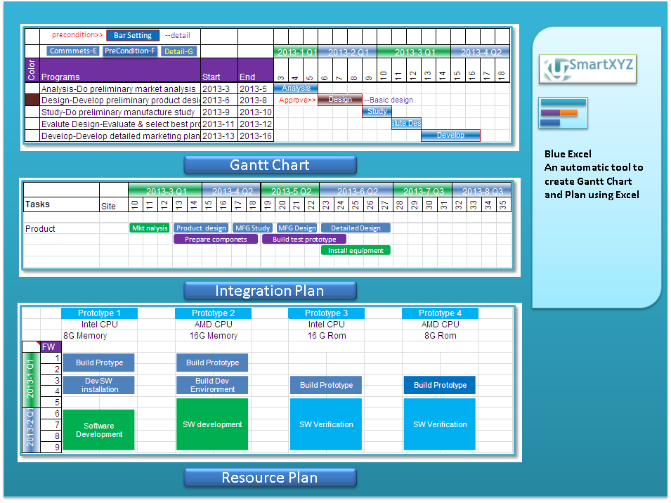 Click to view Blue Excel screenshots